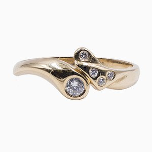 Vintage 14k Yellow Gold Ring with Diamonds, 0.14ct, 1970s