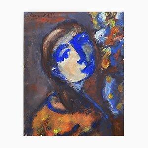 Henriette Barety, Portrait de la jeune femme en bleu, 1973