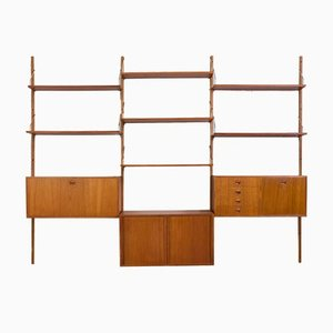 Teak Wall Unit with Bar Cabinet, Tambour Door Cabinet, Chest of Drawers and 7 Shelves by Thygesen & Sørensen for Hansen and Guldborg, 1960s