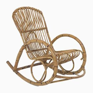 Vintage Italian Bamboo Rocking Chair, 1950s