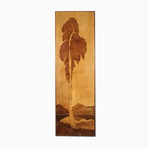 French Decorative Panel in Wood Depicting Landscape with Tree