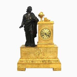Horloge Empire Antique en Bronze Doré