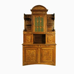 French Art Nouveau Walnut Cupboard, 19th Century