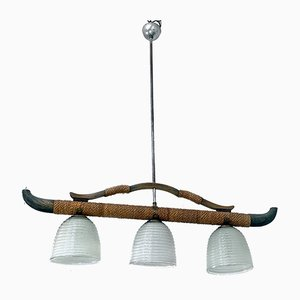 Mid-Century Modern Three-Light Chandelier with Curved Wood Structure, 1960s