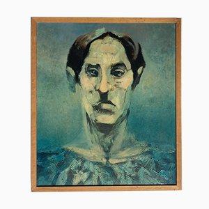 Pintura expresionista francesa, The Green Man, años 60, Cartón