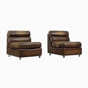 Vintage Brutalist Leather Armchairs, 1960, Set of 2