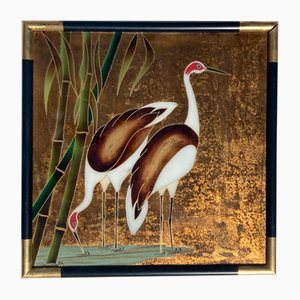 Chinese Reverse Glass Painting of Crane Birds or Egrets, 1960s