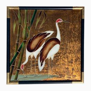 Pintura china de pájaros grulla o garcetas de vidrio, años 60