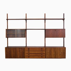 Rosewood Wall Unit with Bar, Chest of Drawers, 3 Cabinets and 4 Shelves by Thygesen & Sørensen for Hansen and Guldborg, 1960s