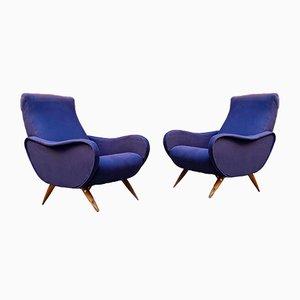 Italienische Mid-Century Sessel aus blauer Baumwolle mit Beinen aus Massivholz, 1950er, 2er Set