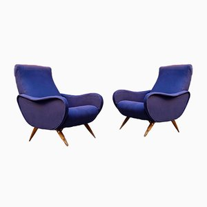 Mid-Century Italian Blue Cotton Lady Armchairs with Solid Wood Legs, 1950s, Set of 2