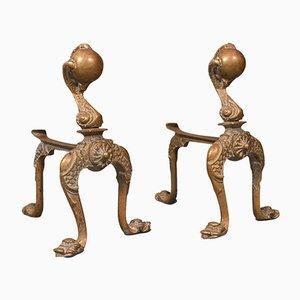 Antike dekorative französische Kaminablagen aus Messing, 2er Set