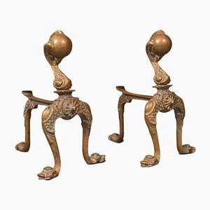 Antique French Decorative Fireside Tool Rests in Brass, Set of 2