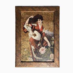 Jugendstil Gemälde auf geprägtem Leder von Conrad Kiesel