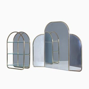 Winged Bathroom Mirror and Shelving Unit, Italy, 1970s, Set of 2