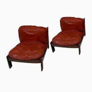 Leather Easy Chairs, Set of 2