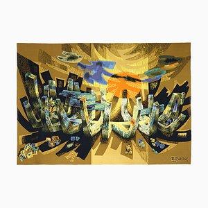 Mid-Century Modern Lumière Wandteppich von Robert Debiève
