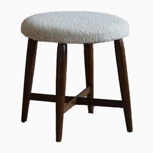 Danish Art Deco Stools with Four Legs Reupholstered in Bouclé, 1930s, Set of 2
