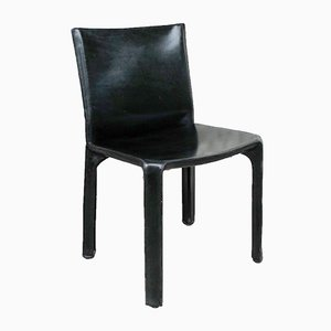 CAB 412 Chair in Black Leather by Mario Bellini for Cassina, 1970s