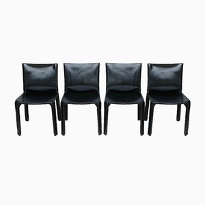 CAB 412 Chairs in Black Leather by Mario Bellini for Cassina, 1970s, Set of 4