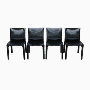 CAB 412 Stühle aus schwarzem Leder von Mario Bellini für Cassina, 1970er, 4er Set