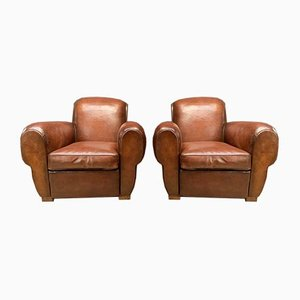 French Leather Havana Gang-Box Club Chairs, 1930s, Set of 2
