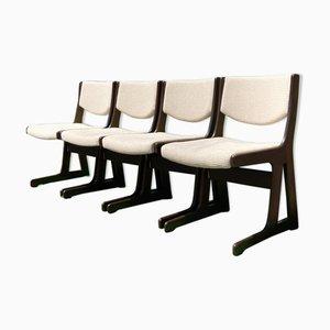 Niederländische Esszimmerstühle aus Wengeholz, 1960er oder 1970er, 4er Set