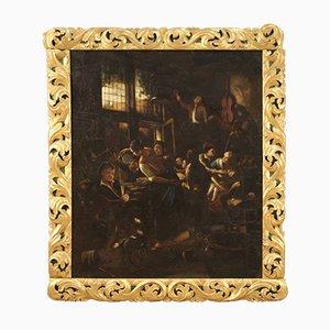 Flemish Painting of Interior Scene, 18th Century