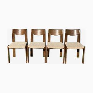 Niederländische oder Dänische Kangaroo Esszimmerstühle aus Massivholz, 4er Set