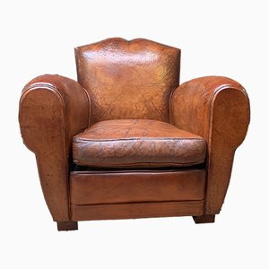 French Leather Caramel Moustache Club Chair, 1930s