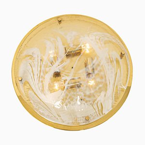 Large Brass & Murano Glass Flushmount from Hillebrand, Germany, 1970s