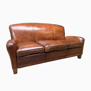 French Leather Club Sofa, 1950s