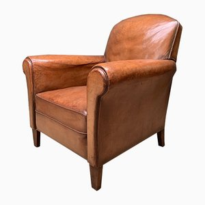 French Art Deco Caramel Leather Club Chair, 1940s