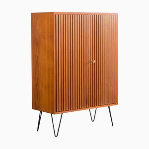 Large Restored High Sideboard in Teak with Corrugated Fronts, 1960s