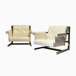 Cantilever Armchairs in Chromed Metal & Vinyl, 1970s, Set of 2