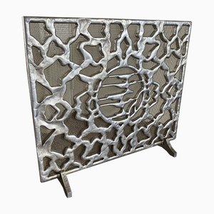 Mid-Century Kaminschirm aus gegossenem Aluminium, 1960er