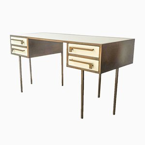 Mid-Century Custom-Made Brass & Lacquered Wood Desk from Cartier, 1970s