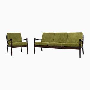 Skandinavisches Vintage 3-Sitzer Senator Sofa und Sessel von Ole Wanscher für Cado, 1960er, 2er Set