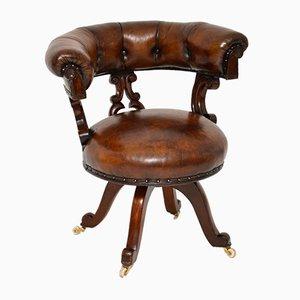 Antiker William IV Schreibtischstuhl aus Leder & Holz