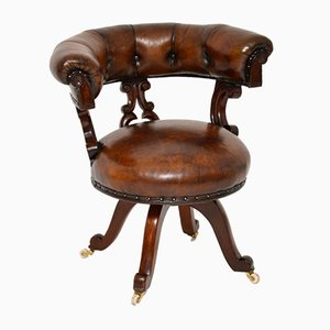 Chaise de Bureau William IV Antique en Cuir et Bois