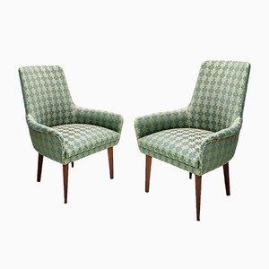 Mid-Century Green Fabric Armchairs, Italy, Set of 2