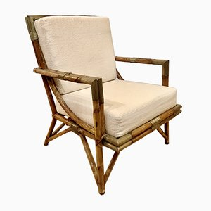Rattan and Bronze Armchair by Gilles Semadiras for Maison et Jardin, France, 1955