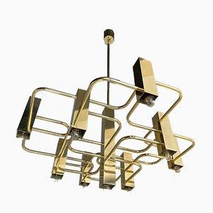 Belgian Brass Chandelier by Sciolari for Boulanger, 1970s
