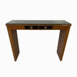 Italian Art Deco Walnut, Palm Wood and Green Marble Console, 1940s