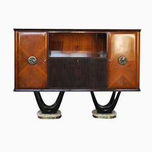 Rosewood Bar Cabinet on 2 Mahogany Bases with Onyx Feet, Brass Edge & Painted Glass Top from Dassi