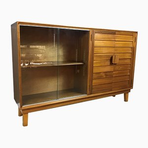 Mid-Century Teak Display Bookcase with Sliding Glass Doors from Minty