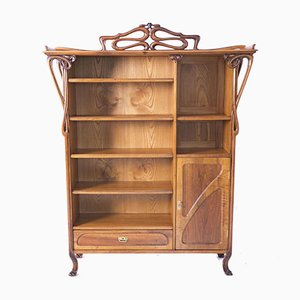 Art Nouveau Secessionist Bookcase Cabinet by Pal Horti, Hungary, 1900s