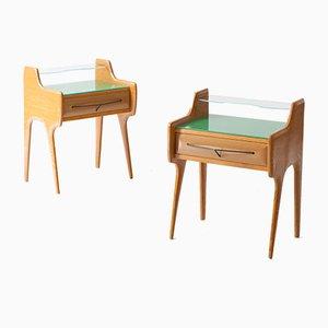 Tables de Chevet en Chêne avec Plateau en Verre Vert, Italie, 1950s, Set de 2