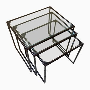 Bamboo Effect Nesting Tables in Metal, 1970s, Set of 3
