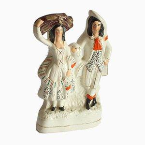 Figurine d'un Couple Écossais, Staffordshire, 19ème Siècle